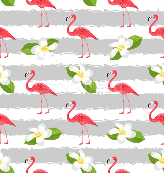 Seamless Pattern with Plumeria Flowers and Pink Flamingo Birds Stock photo © smeagorl