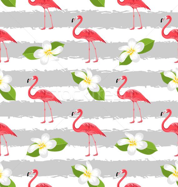 çiçekler pembe flamingo kuşlar örnek Stok fotoğraf © smeagorl