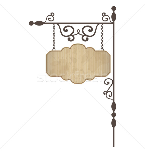 Wooden noticeboard with floral forged elements Stock photo © smeagorl