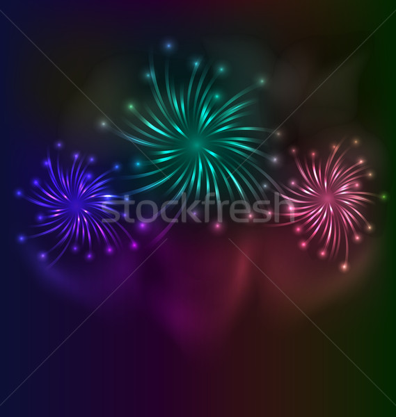 Colorful fireworks background with place for text Stock photo © smeagorl