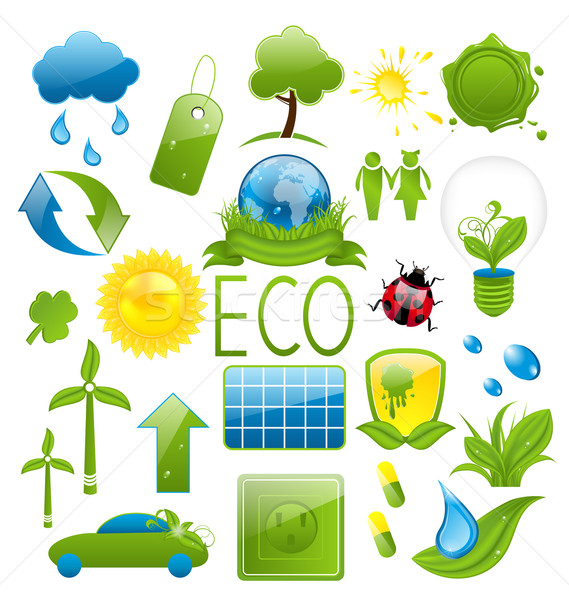 Set of green ecology icons (2) Stock photo © smeagorl