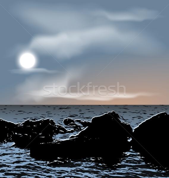 Nature background, sea stones during dusk Stock photo © smeagorl