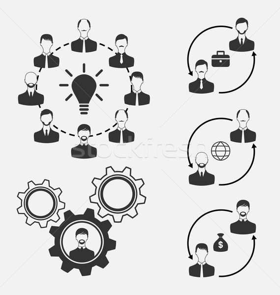Set of business people, concept of effective teamwork Stock photo © smeagorl