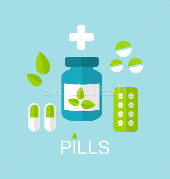 Foto stock: Pílulas · cápsulas · drogas · folhas · ilustração · ícone
