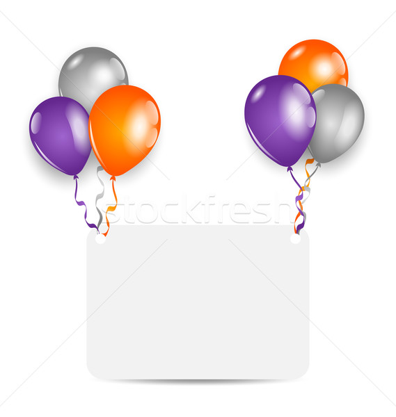 Stock photo: Halloween Greeting Card with set Colorful Balloons