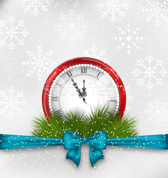 Año nuevo medianoche reloj ilustración abeto árbol Foto stock © smeagorl