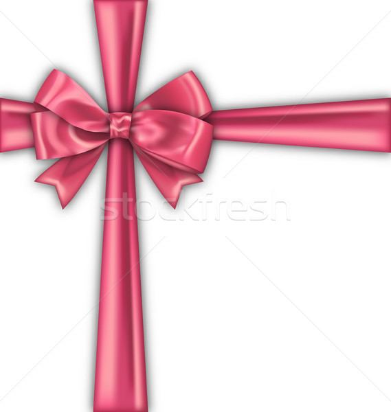 Pink Realistic Satin Ribbon and Bow Isolated Stock photo © smeagorl