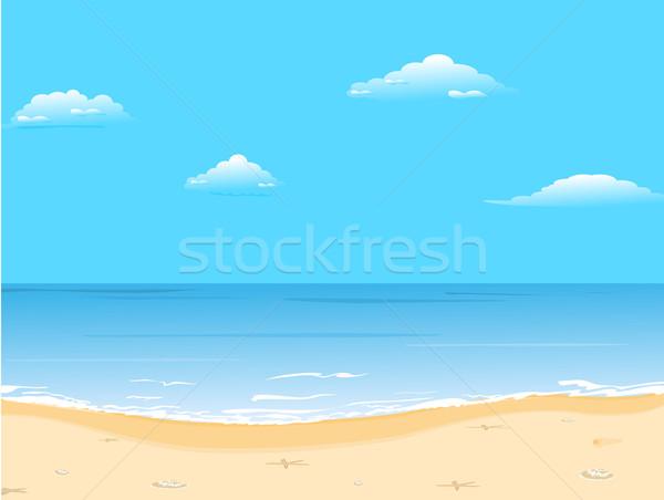 Gyönyörű nyár tengerpart vektor természet művészet Stock fotó © smeagorl