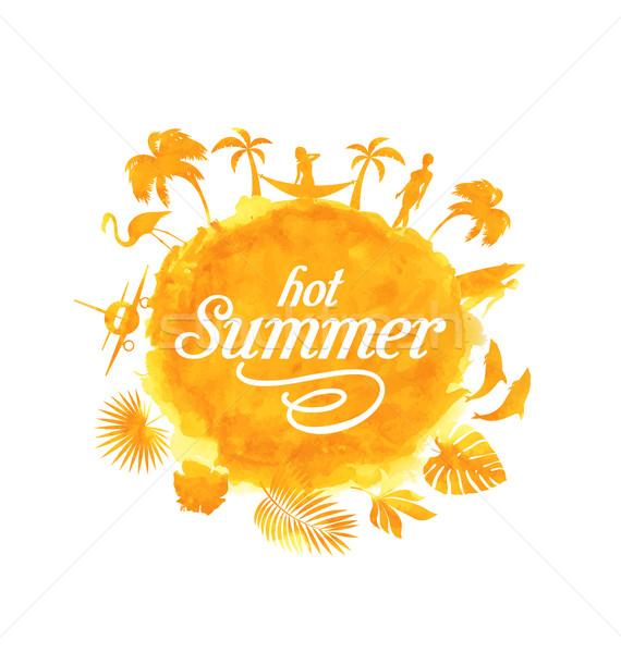ストックフォト: 熱帯 · 夏 · ビーチ · パーティ · ポスター · デザイン