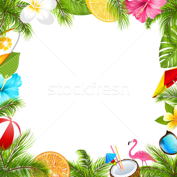 Summer Poster for Fun Beach Party, Hibiscus, Frangipani Flowers, Sunglasses Stock photo © smeagorl