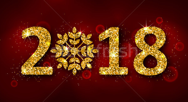 Glitter Background with Golden Dust for Happy New Year 2018 Stock photo © smeagorl