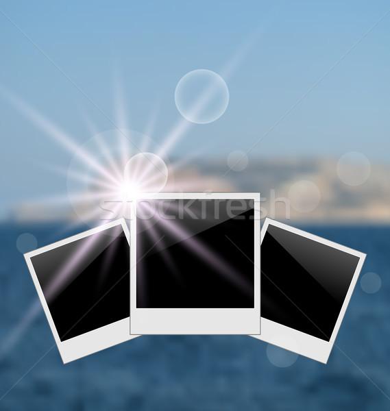 Szett fényképkeret elmosódott tengeri kilátás illusztráció víz Stock fotó © smeagorl
