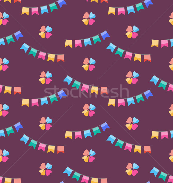 Seamless Funny Texture with Colorful Buntings for Holiday Stock photo © smeagorl