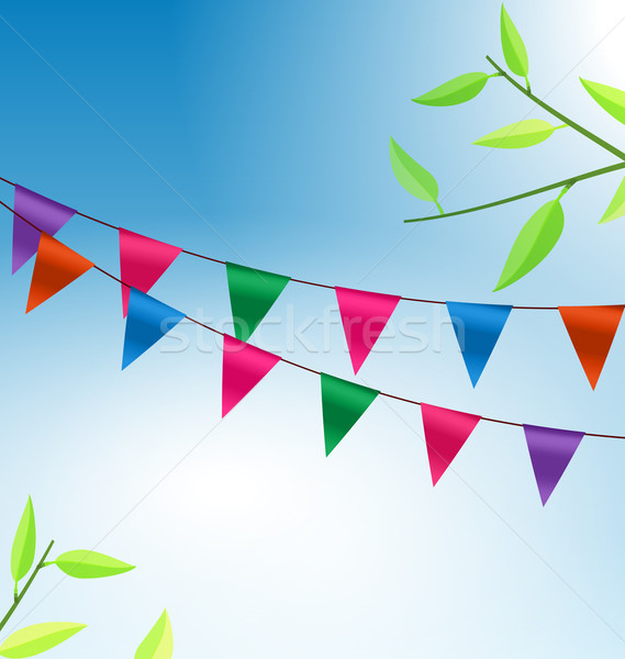 Background with Buntings Flags Garlands Stock photo © smeagorl