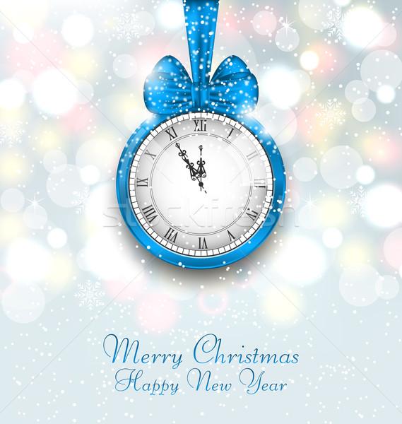 Capodanno mezzanotte clock illustrazione felice segno Foto d'archivio © smeagorl