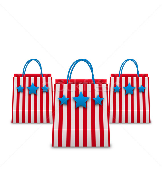 Shopping Bags in American Patriotic Colors. Packets Isolated on  Stock photo © smeagorl