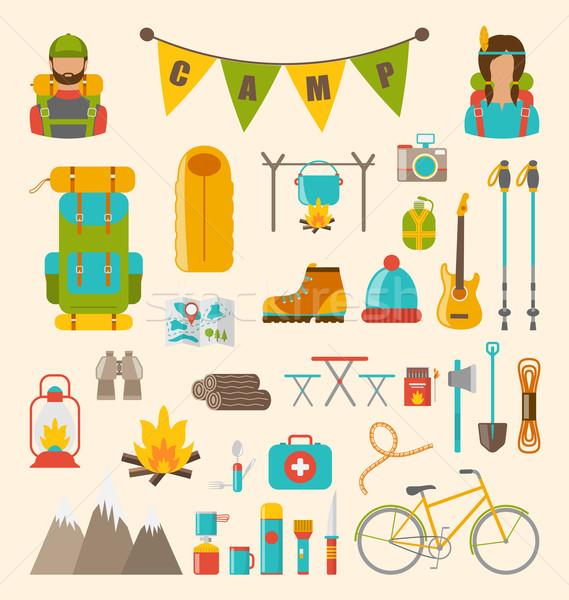 Foto stock: Coleção · camping · caminhadas · equipamento · colorido · símbolos