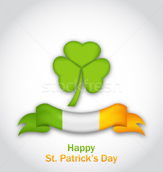 clover with ribbon in traditional Irish flag colors for St. Patr Stock photo © smeagorl