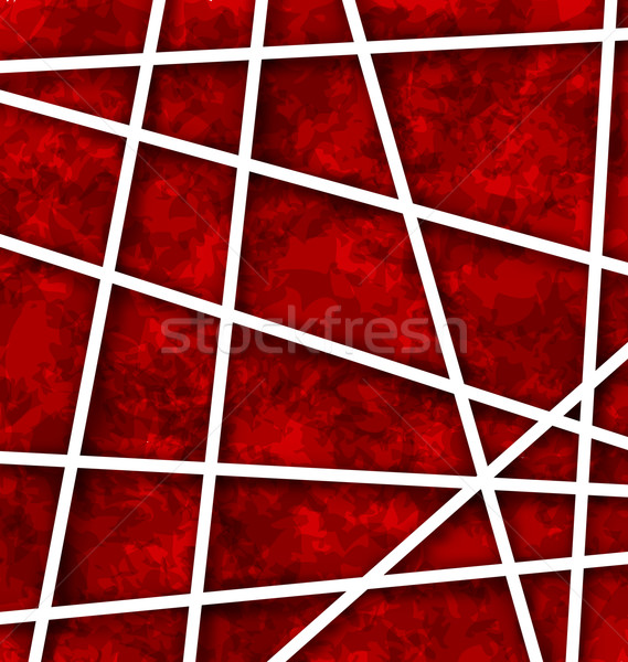 Red Abstract Geometric Background with White Paper Lines Stock photo © smeagorl
