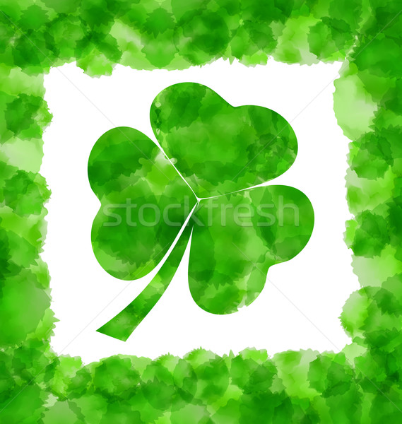 Happy Saint Patricks Day Watercolor Background with Clover Stock photo © smeagorl