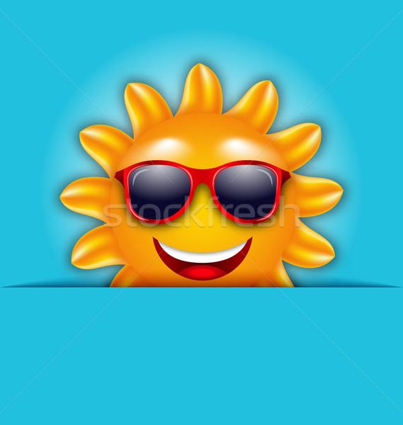 ストックフォト: クール · 夏 · 太陽 · サングラス · 美しい · カード