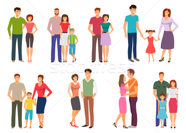 Happy family. People Figures, Parenting, Parents, Children, Kids, Son, Daughter Stock photo © smeagorl