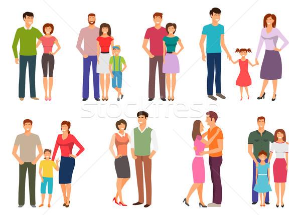 Boldog család emberek gyereknevelés szülők gyerekek gyerekek Stock fotó © smeagorl