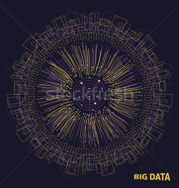 Big Data Visualization. Structure made in Lines and Dots Array. System of Analysis Stock photo © smeagorl