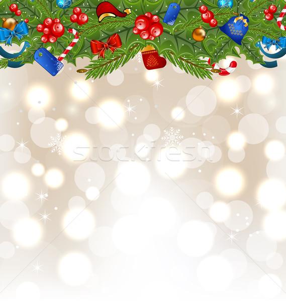 Karácsony izzó ünnep dekoráció illusztráció fa Stock fotó © smeagorl