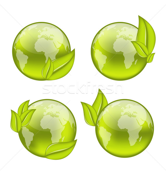 set icon world with eco green leaves isolated on white backgrou Stock photo © smeagorl