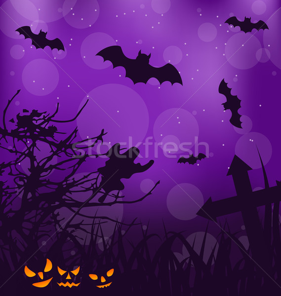 Halloween sinistre fantôme illustration herbe Photo stock © smeagorl