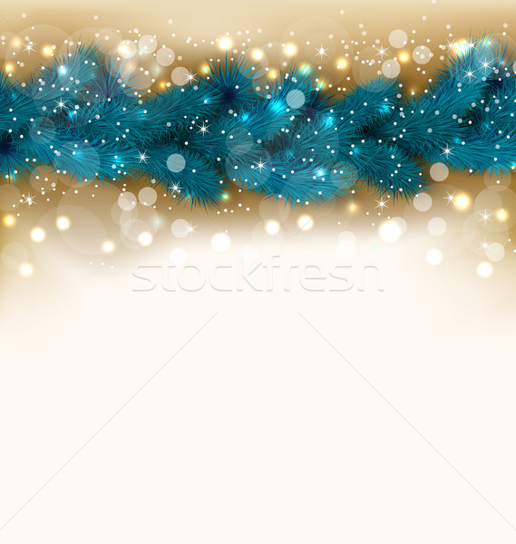Christmas shimmering background with fir twigs, copy space for y Stock photo © smeagorl