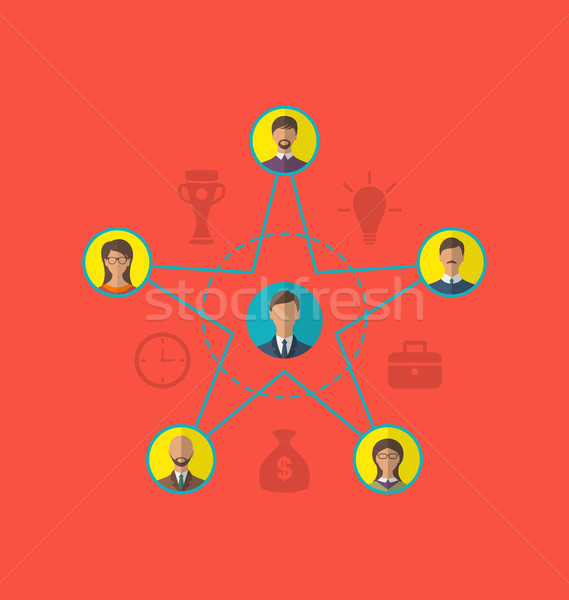 Concept of leadership, community business people. Flat style ico Stock photo © smeagorl