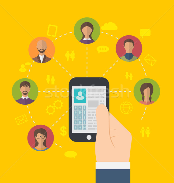 Social connection with profile page on phone and users icons Stock photo © smeagorl