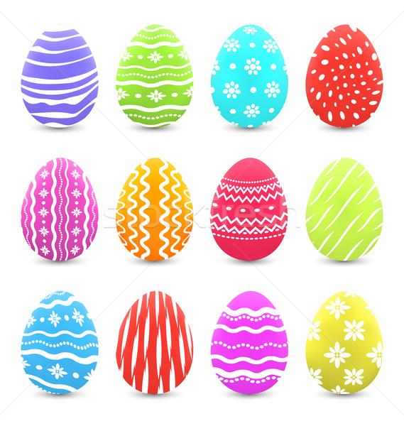 Húsvét sok tarka díszes tojások árnyékok Stock fotó © smeagorl