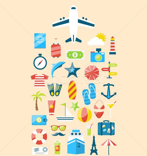 Flat modern design set icons of travel on holiday journey, touri Stock photo © smeagorl