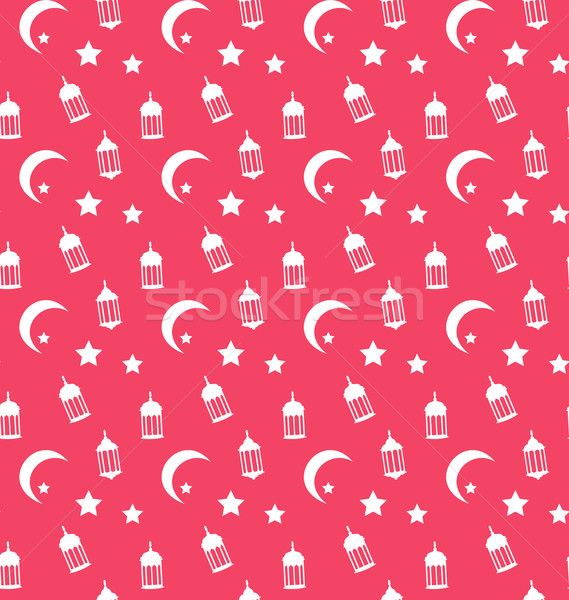 Islamic Seamless Pattern with Arabic Lamps, Crescents and Stars Stock photo © smeagorl