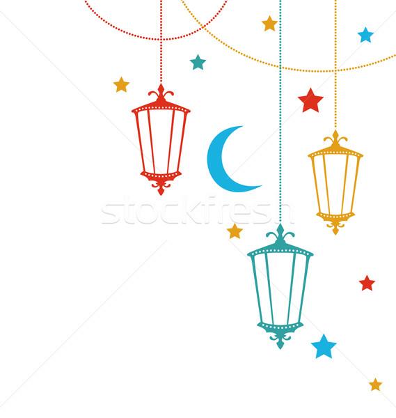 Foto stock: Cartão · ramadan · lâmpadas · ilustração · lua · estrela