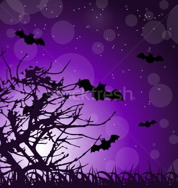 Sötét ijesztő illusztráció halloween éjszaka fű Stock fotó © smeagorl