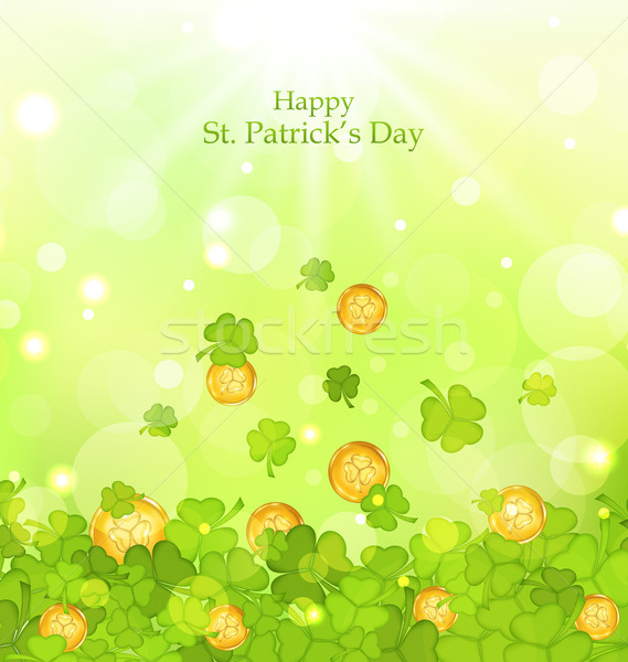 Light background with clovers and coins for St. Patrick's Day Stock photo © smeagorl