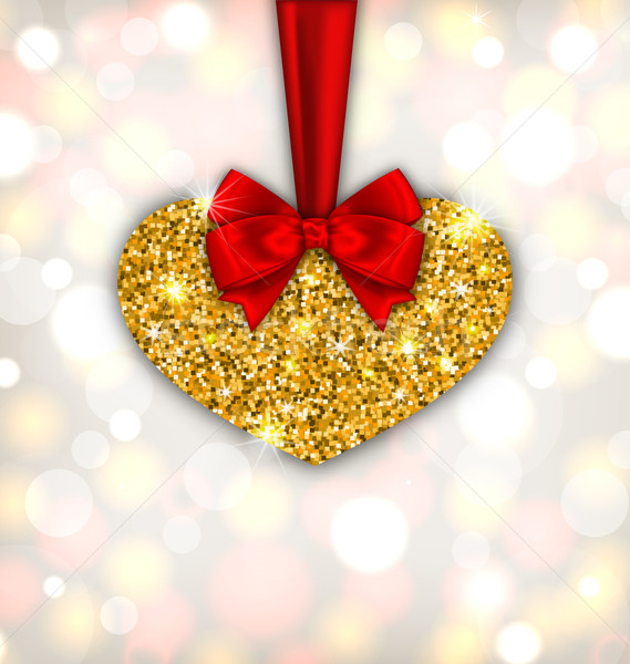 Shimmering Golden Heart with Red Silk Ribbon Stock photo © smeagorl