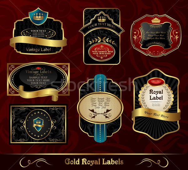 set black gold-framed labels Stock photo © smeagorl
