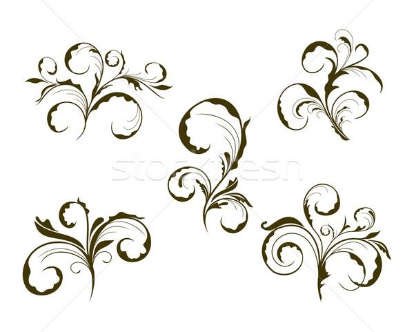 Foto stock: Establecer · cute · flor · ilustración · diseno · elementos