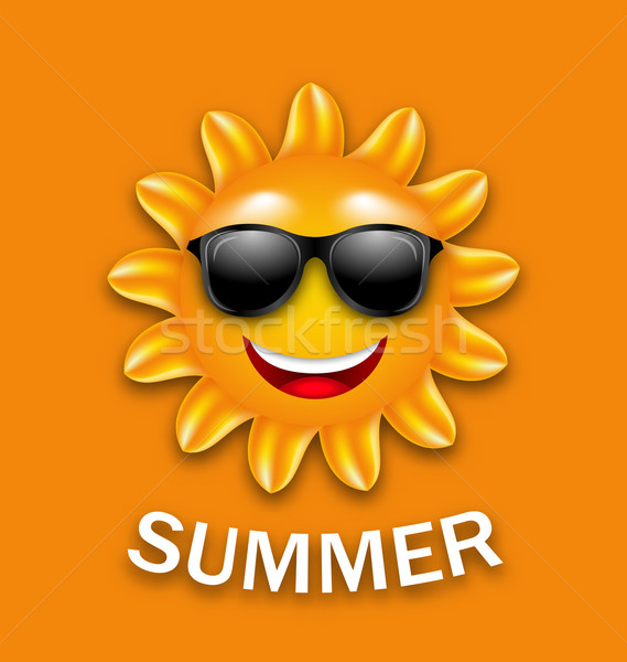 Foto stock: Legal · feliz · verão · sol · óculos · de · sol · ilustração