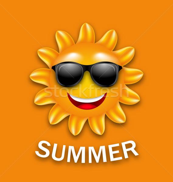 Stockfoto: Cool · gelukkig · zomer · zon · zonnebril · illustratie