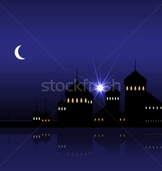 Ramadán sziluett mecset illusztráció hold háttér Stock fotó © smeagorl