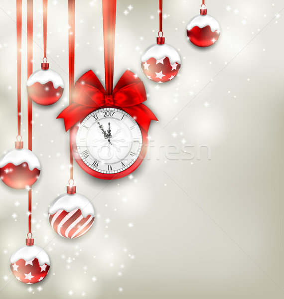 New Year Magic Background with Clock and Glass Balls Stock photo © smeagorl