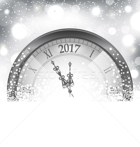 új év éjfél havazik óra illusztráció fény Stock fotó © smeagorl