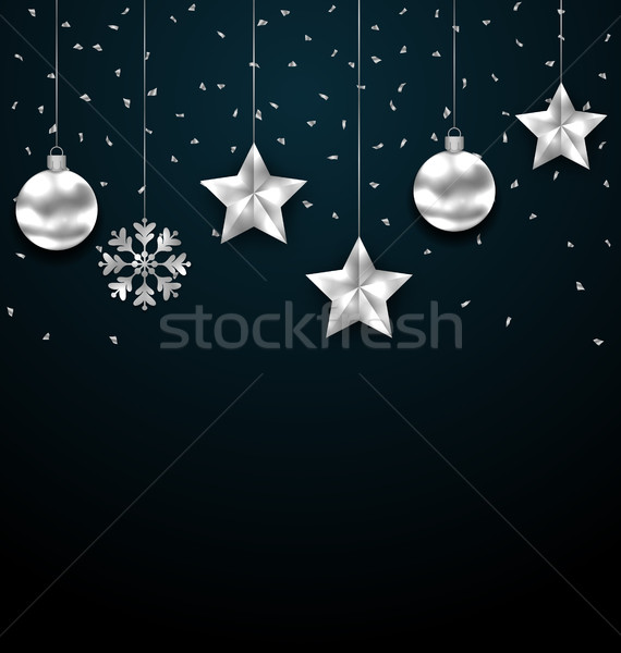 Christmas Dark Background with Silver Baubles, Greeting Luxury Banner Stock photo © smeagorl