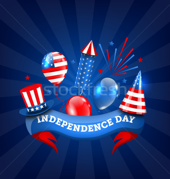 American Banner for Independence Day, Traditional Colorful Symbols and Objects Stock photo © smeagorl